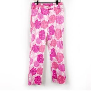 Lilly Pulitzer Floral Pants Pink Rose Print Cotton